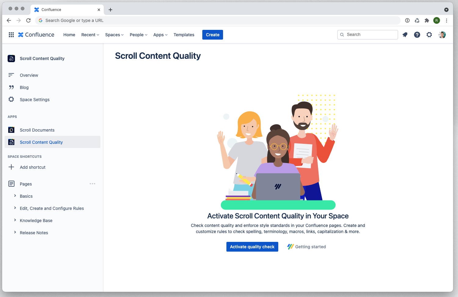 The Scroll Content Quality app in Confluence Cloud left sidebar